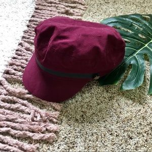 💫 F21   Maroon Paper Boy Cabby Hat